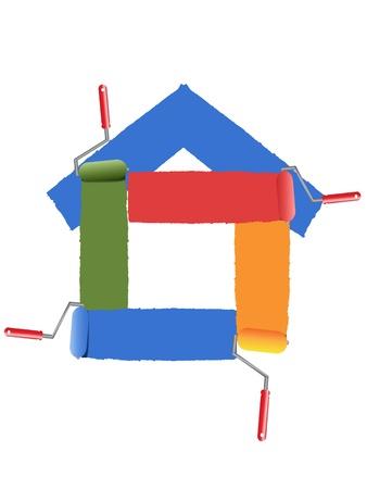 creative tools: il simbolo della casa di pittura Vettoriali
