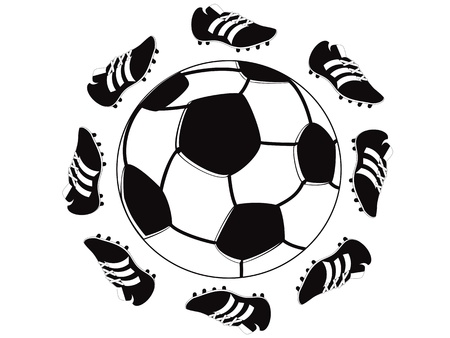 the symbol of shoes around the football Vector