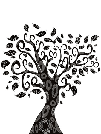 the silhouette  of designed Tree  Vector