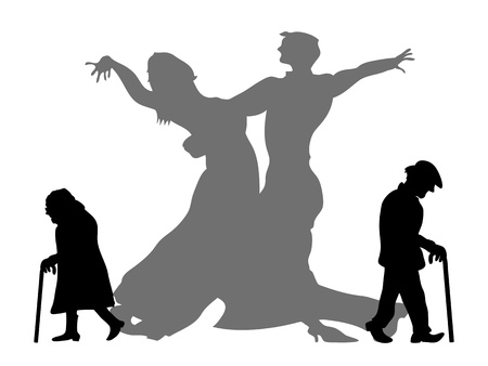 retrospect: old couple dream to be the dancing partner in their youth time Illustration