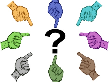 suspect: color hands pointing to suspect Illustration