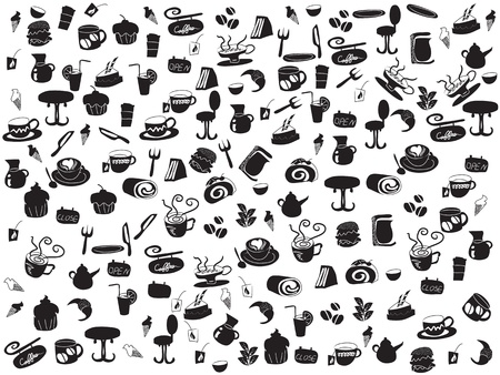 afternoon cafe: patrones de caf� y t� de doodle transparente para dise�o web