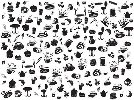 patrons de café et le thé doodle transparente pour webdesign