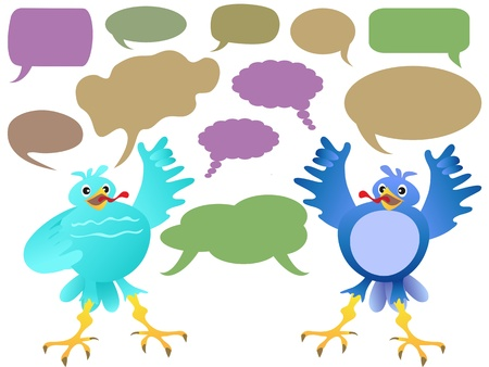 twittering birds chatting with speech bubbles