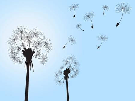 posterity: dandelion and its offspings floating into the sky Illustration