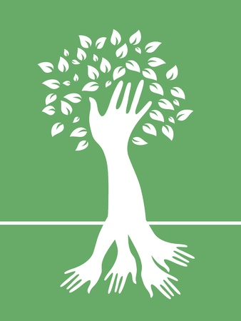 reach: the tree formed by hands for design Illustration