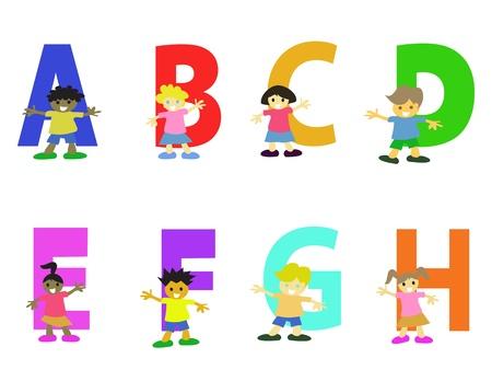 colección de alfabeto dibujos animados de niños felices