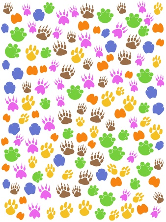 animal tracks: the colorful seamless background of animals footprint Illustration