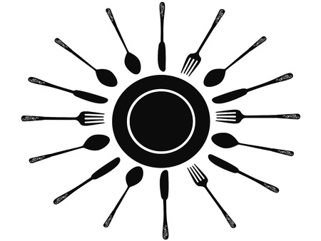dinner party: Fork spoon and knife around the dish
