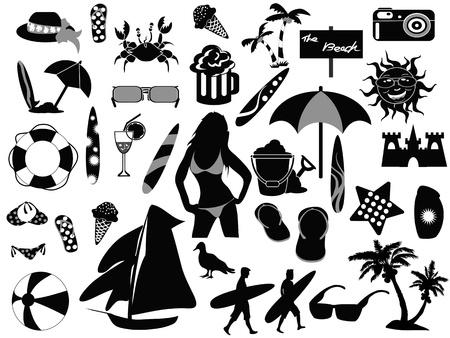 ombrellone spiaggia: icone di spiaggia ha attirato su sfondo bianco