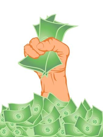 avuç: hand holding money from money pile