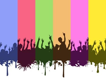 bras lev�: arri�re-plan color� arc-en-ciel des foules de roche Illustration