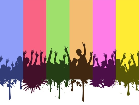 fun festival: colorful rainbow background of rock crowds