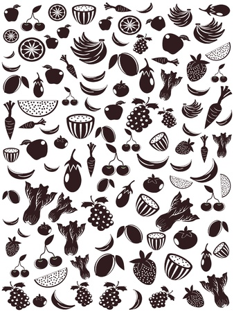 seamless background of fruit and vegetable icons