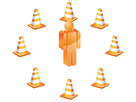 3D symbol people around with traffic cones Vector