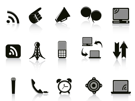 wireless tower: Isolated communication Icons on white background  Illustration