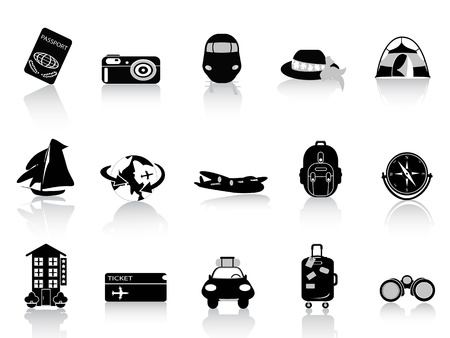 people traveling: Transportation and travel icons on white background