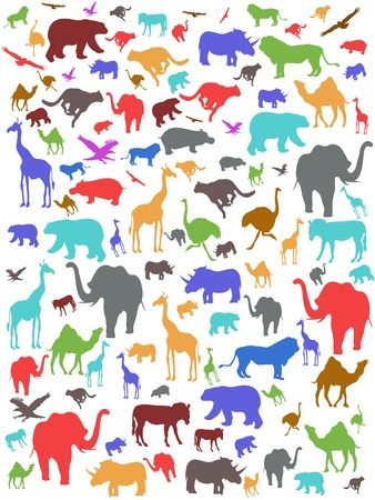 themes: Seamless colorful african animals pattern Illustration