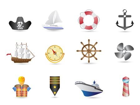 navy ship: Iconos de marinos, vela y navales de dise�o Vectores