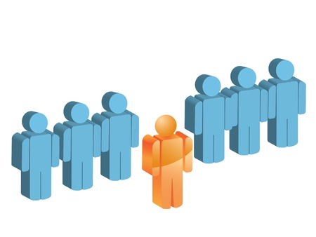 3d manager: A man out of the group in the queue