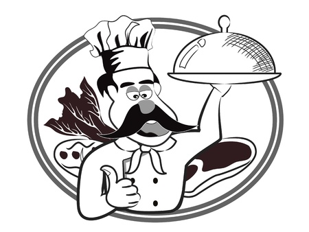 big Chef badge on white background Vector