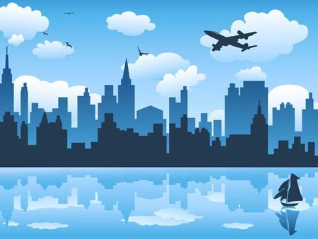 city in blue sky and its reflection on water Stock Vector - 9794550