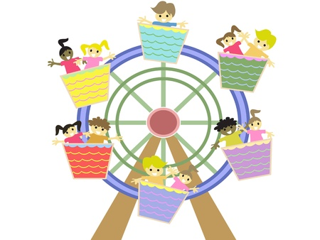 kids playing in the amusement park Vector