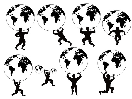 lifter: isolated strong man lifting earth on white background Illustration