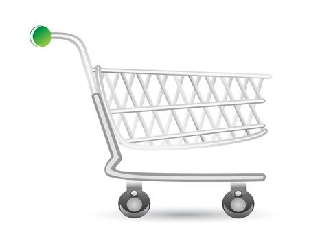 supermarket shopping cart: carro de compras aislada sobre fondo blanco