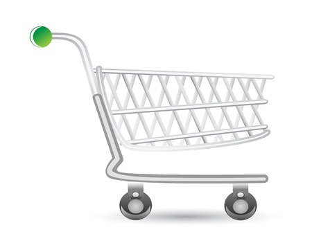 supermarket trolley: isolated shopping cart on white background