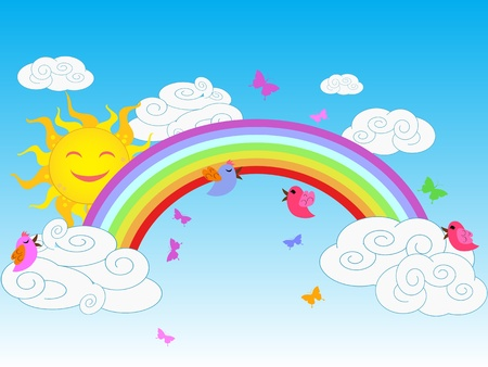 the background of colorful sunny rainbow in clear sky Vector
