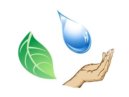 El ciclo de gota de agua, mano y hoja Foto de archivo - 9794549