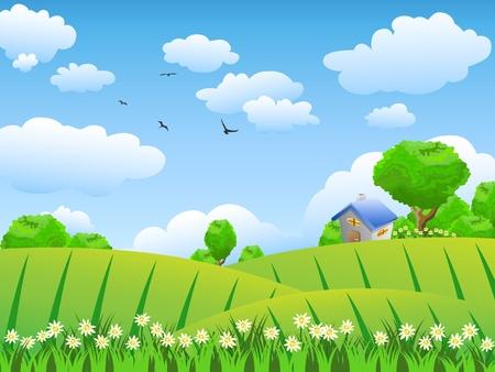 安らぎ: 美しい田園風景の背景