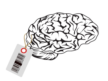 intelligent brain with bar code tag Stock Vector - 9881887