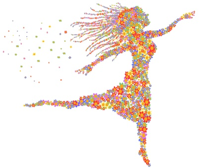 beautiful dancing girl filled with flowers Illustration