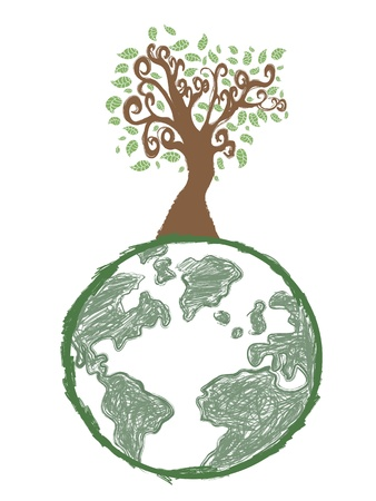 doodle image of earth tree Stock Vector - 9883018