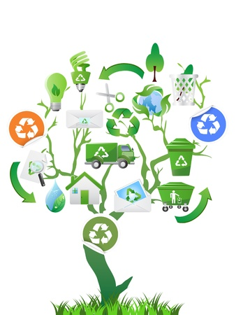 garbage: the green tree with eco icons for design