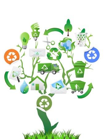Śmieciarka: zielone drzewo z eko ikony projektowania Ilustracja