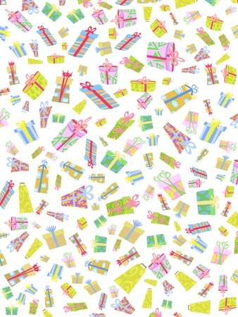 seamless background of doodle gift box Vector