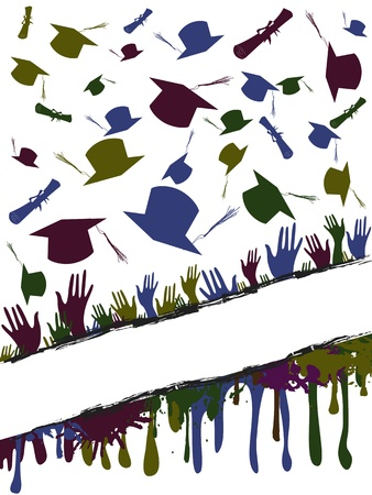 Grunge background illustration of a group of graduates tossing Vector