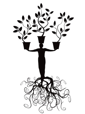 the tree man with root Stock Vector - 9883011