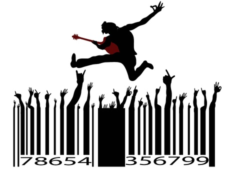 rocha: rock music bar code on white background