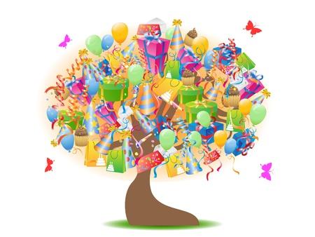 garden background: happy birthday gifts tree