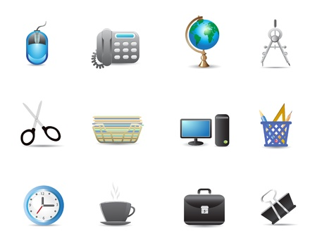 coffee hour: set of office tools icon for web design Illustration