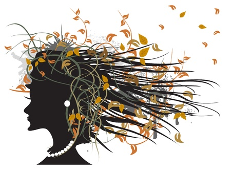 the silhouette of floral autumn girl Stock Vector - 9883029