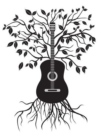 arbre isolé de guitare sur fond blanc