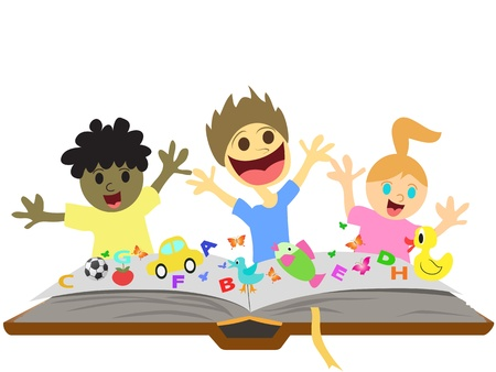 happy kids playingand learning  in front of book Vector