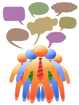 fellows: social symbol people talk in color speech bubbles Illustration