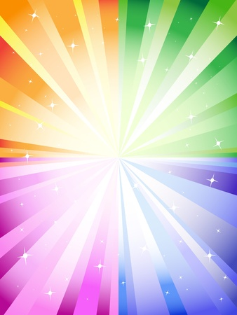 sparkling: A colorful background with a burst and stars Illustration