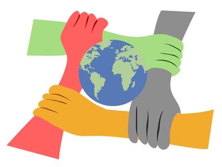 지구의 손이 결합 된 개념 일러스트